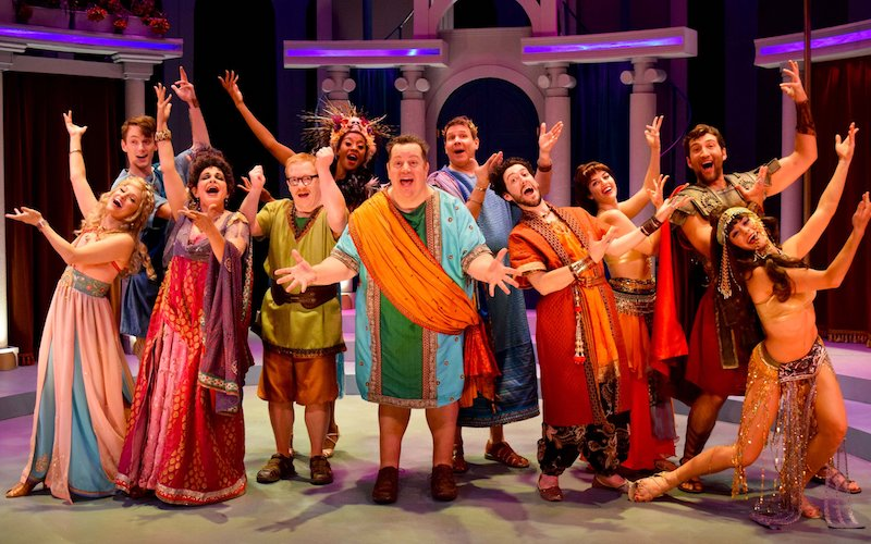 The ensemble in A Funny Thing Happened on the Way to the Forum at the Garry Marshall Theatre. (Photo by Chelsea Sutton)