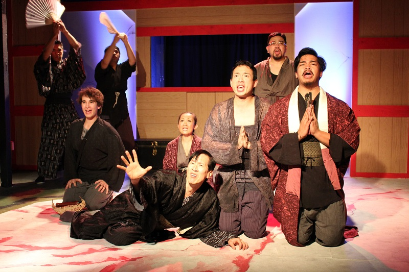 From left to right: Front Row, Kevin Matsumoto, Paul Wong, Julia May Wong, Daniel Koh, Marcel Licera, Peter Jeensalute. Rear: Cesar Cipriano and Daryl Leonardo in Pacific Overtures at the Attic Theatre. (Photo by Ederson Vasquez)