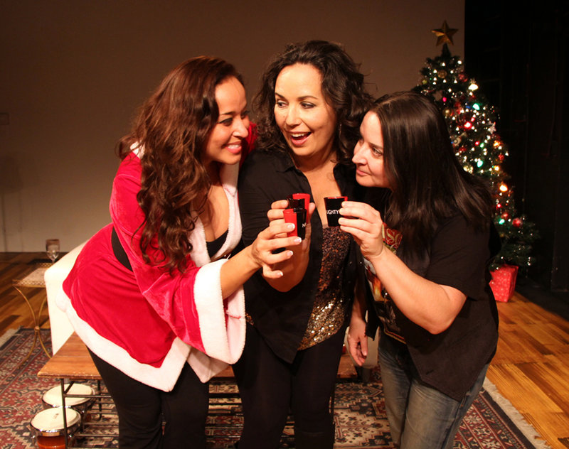 Maria Russell, Diana Yanez and Sandra Valls in Latina Christmas Special at the Los Angeles Theatre Center. (Photo by Xavi Moreno)