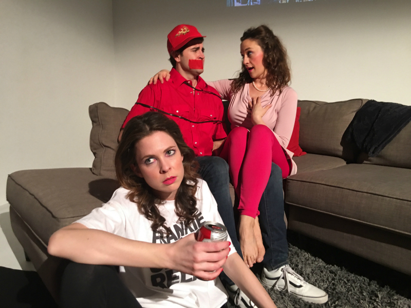 Emma Chandler, Freddy Giorlando and Raleigh West in Pizza Man by Pop Up Theatre, Inc. (Photo by Grafton Doyle)