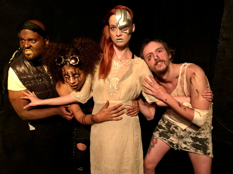 Abel Kidane, Skye LaFontaine, Caiti Wiggins and Nick D'alberto in PoPalypt1c at Zombie Joe's Underground Theatre Group. (Photo by Shayne Eastin)